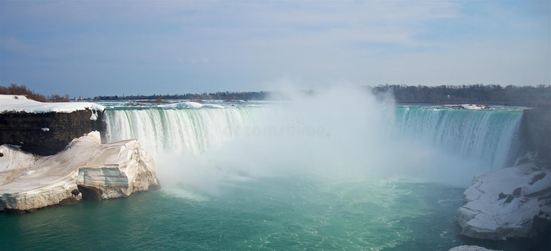 Frühlingspanoramablick der berühmten Niagara- Fallshufeisenfälle lizenzfreies stockfoto