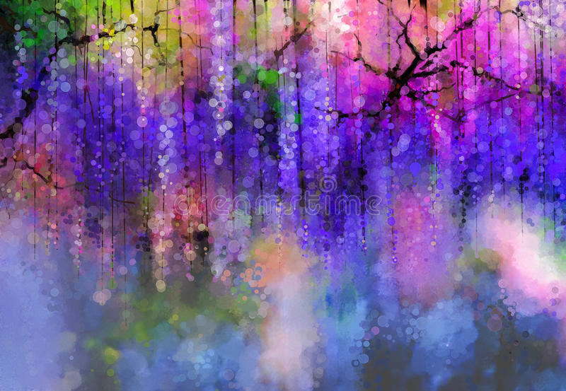 Frühlingspurpur blüht Glyzinie Adobe Photoshop für Korrekturen stock abbildung