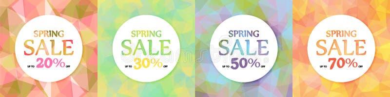 Frühlingsrabatte, Verkauf Ein Satz von vier Weiße Kreise auf einem Hintergrund von mehrfarbigen Dreiecken, Polygone lizenzfreie abbildung