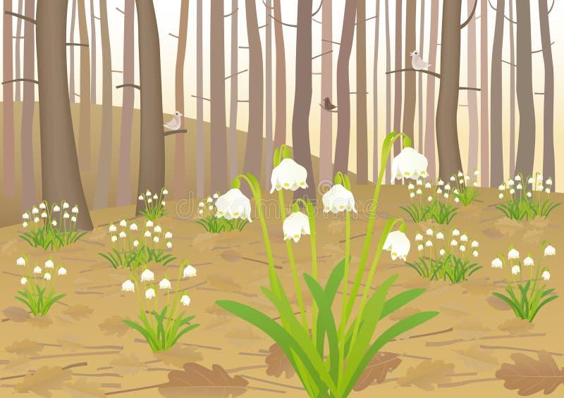 Frühlingsschneeflocken lizenzfreie abbildung