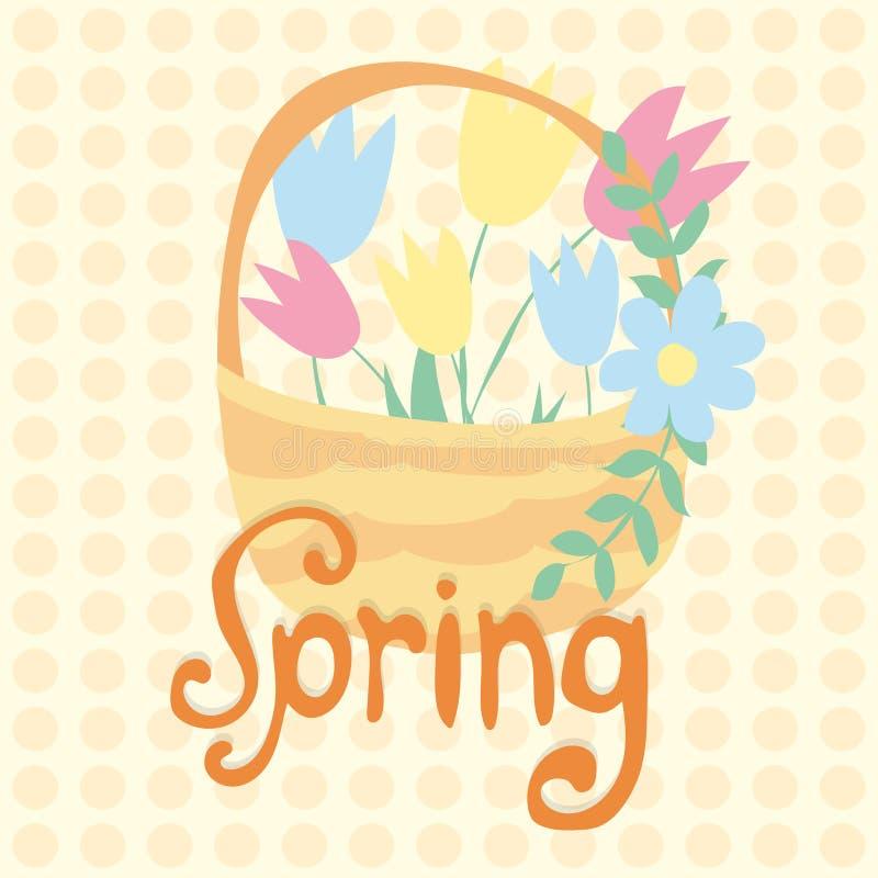 Frühlingstext mit Tulpenblume Auch im corel abgehobenen Betrag lizenzfreie abbildung