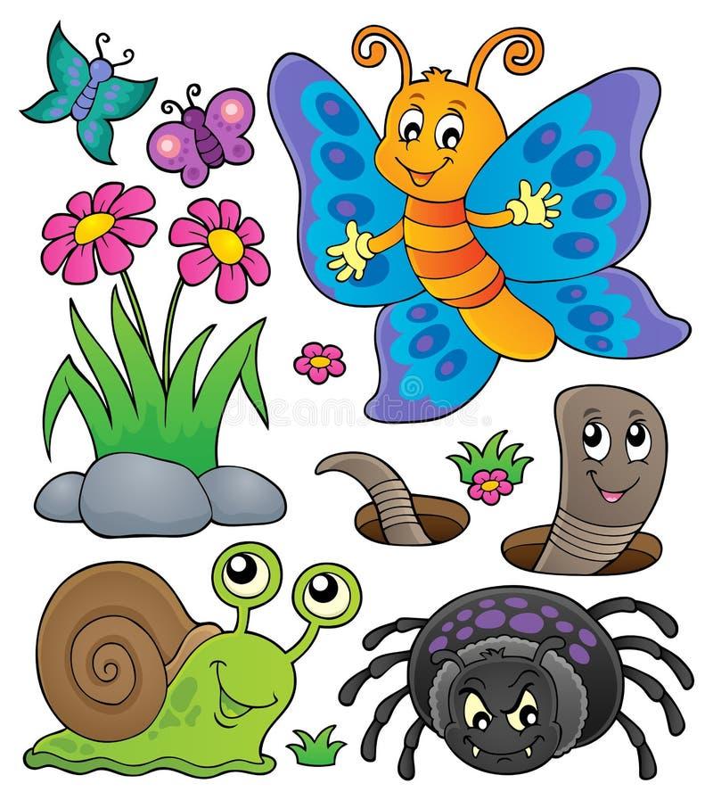 Frühlingstier- und -insektenthema stellte 4 ein lizenzfreie abbildung