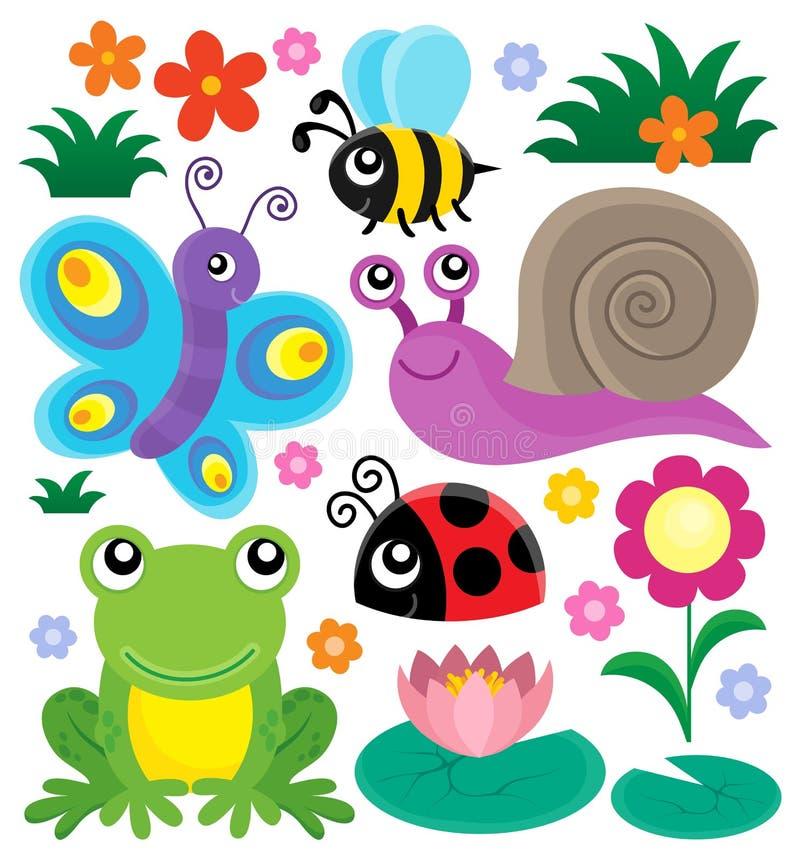 Frühlingstier- und -insektenthema stellte 1 ein stock abbildung