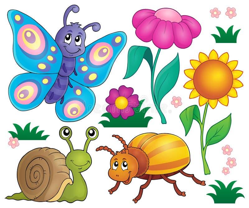Frühlingstier- und -insektenthema stellte 2 ein stock abbildung