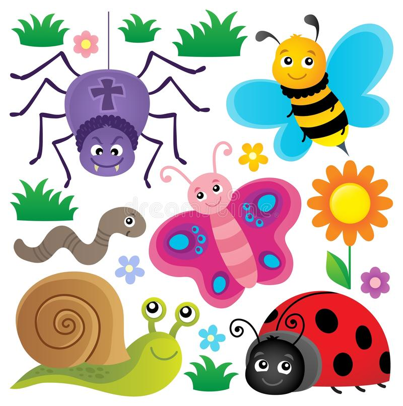 Frühlingstier- und -insektenthema stellte 3 ein stock abbildung