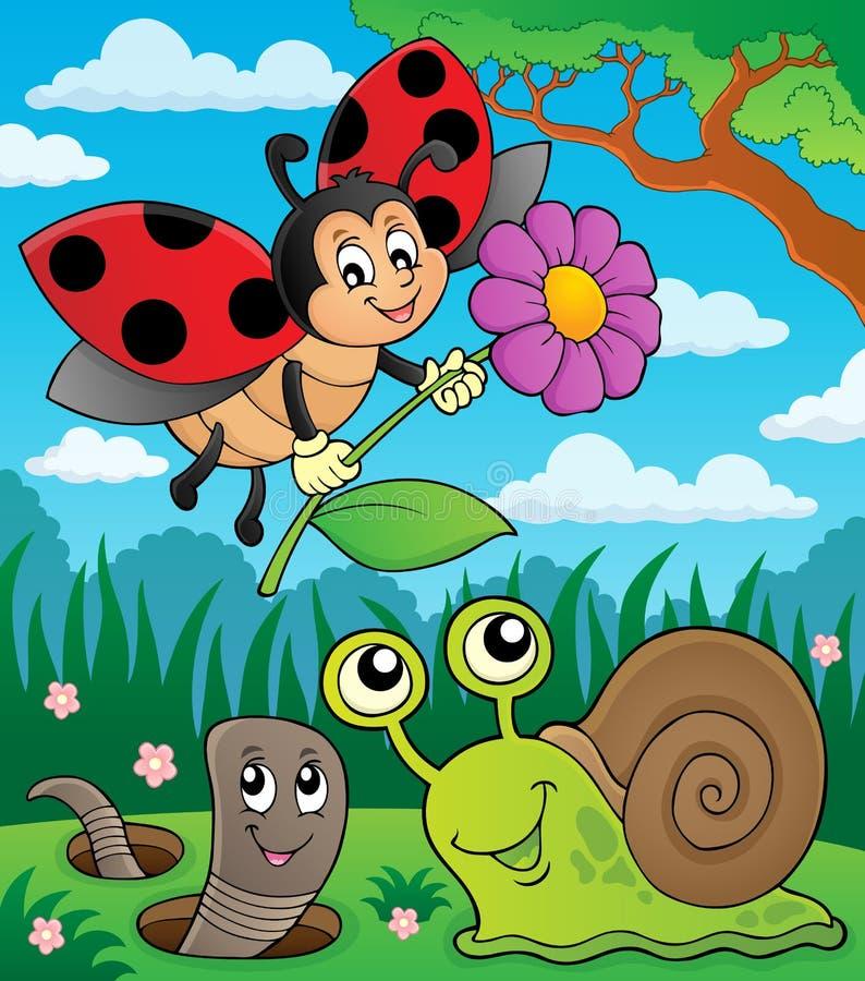 Frühlingstier- und -insektenthemabild 8 lizenzfreie abbildung