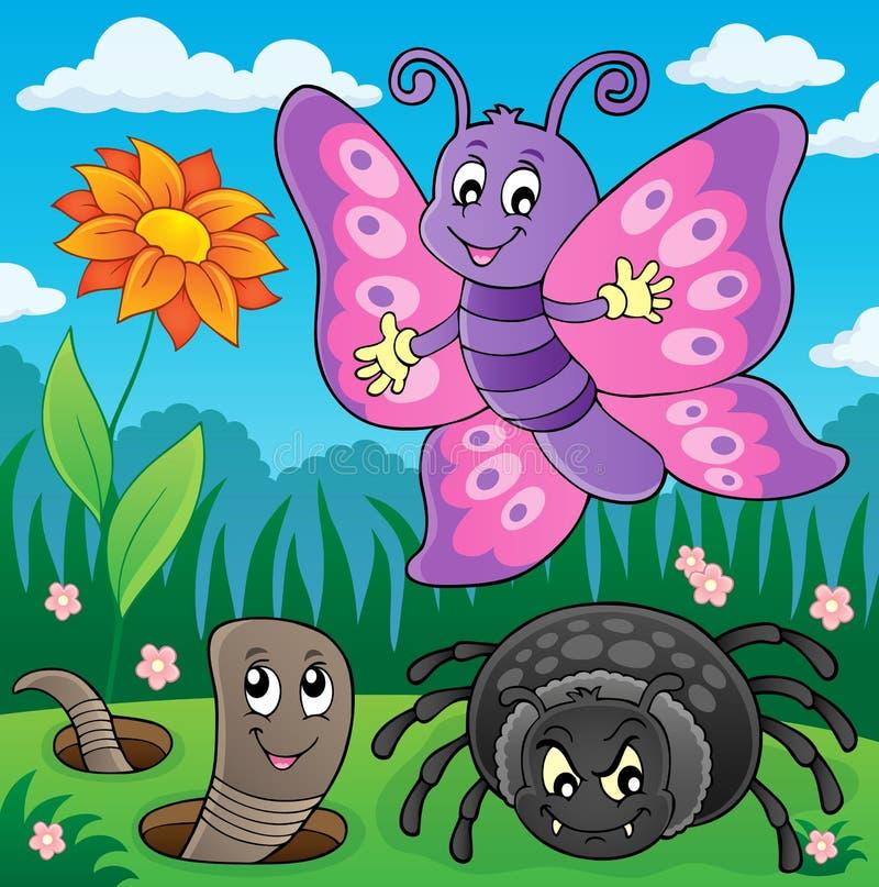 Frühlingstier- und -insektenthemabild 7 stock abbildung