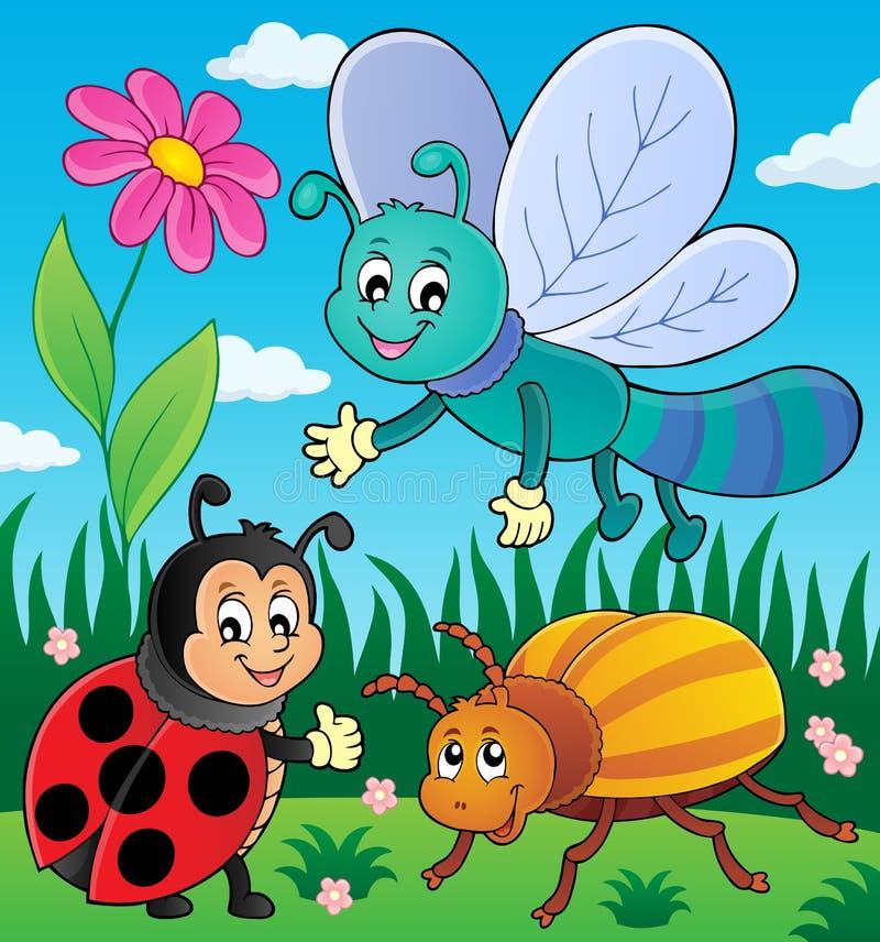 Frühlingstier- und -insektenthemabild 9 stock abbildung