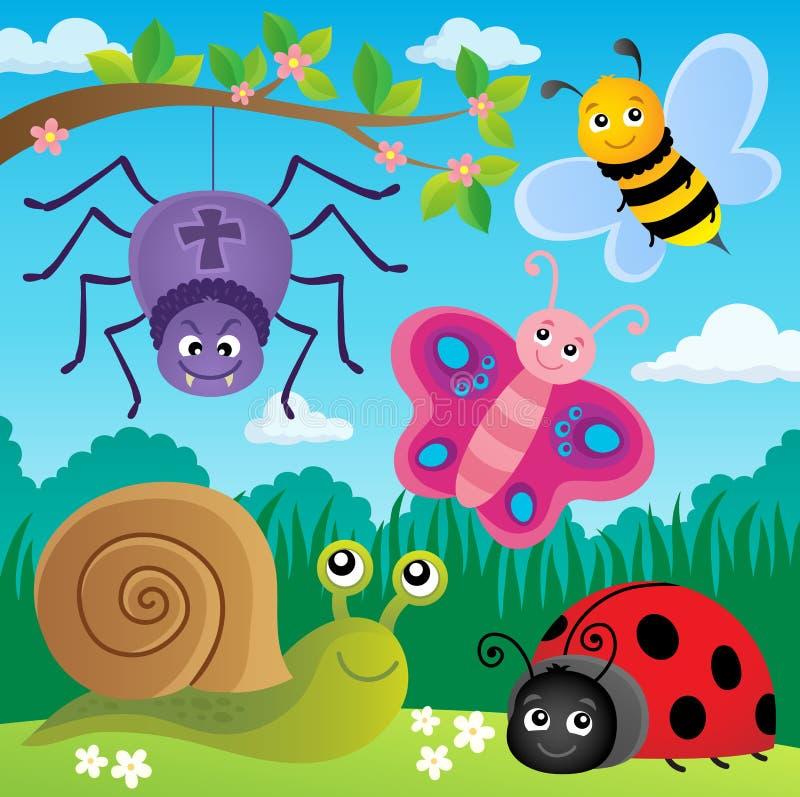 Frühlingstier- und -insektenthemabild 5 stock abbildung