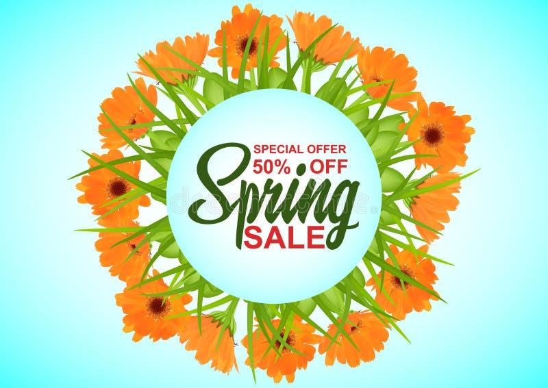Frühlingsverkauf, Hintergrund mit bunten Blumen und grünes Gras, Hintergrund für Fahnen, Einladungen, Karten, Broschüren vektor abbildung