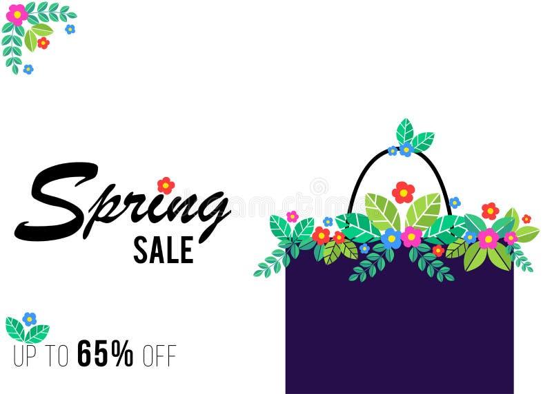 Frühlingsverkaufs-Einkaufsfahne mit Florenelementen vektor abbildung
