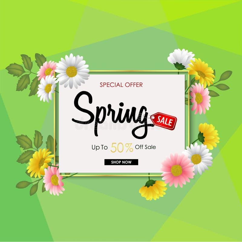 Frühlingsverkaufs-Hintergrundfahne mit schönen bunten Blumen lizenzfreie abbildung