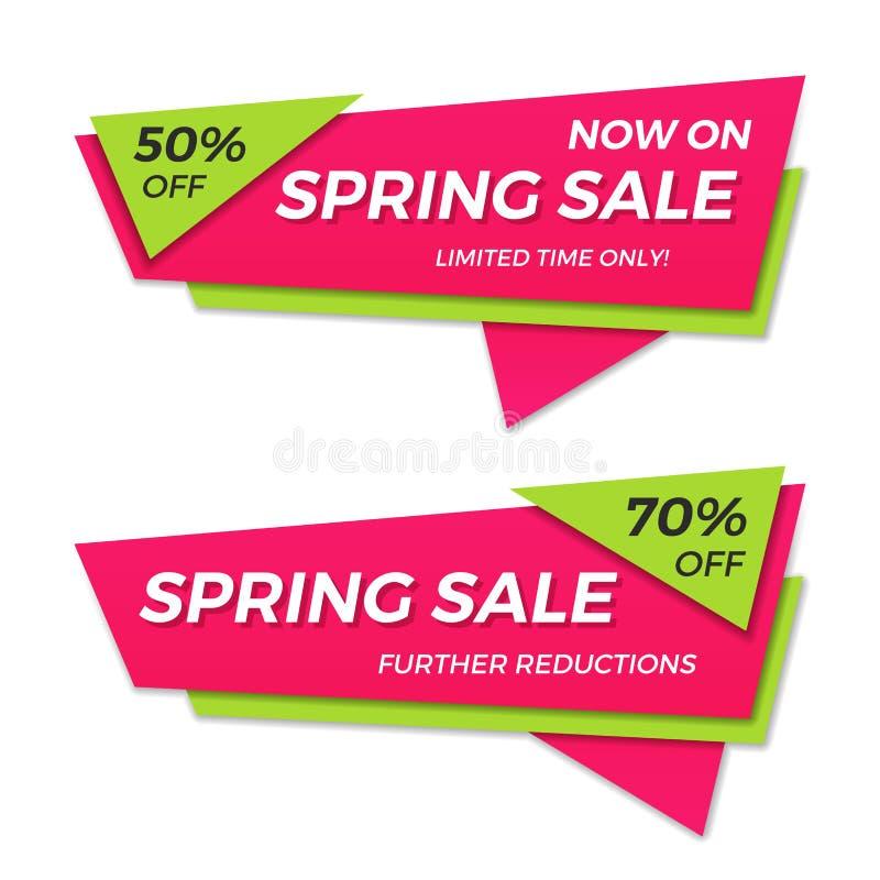 Frühlingsverkaufsaufkleber-Preisfahnenausweisschablonen-Aufkleberdesign vektor abbildung