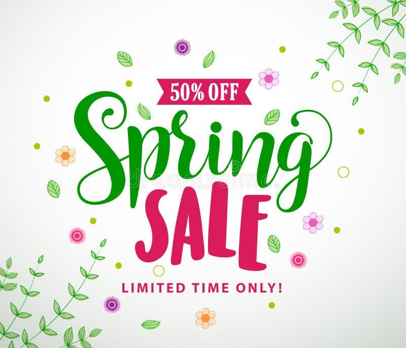 Frühlingsverkaufsvektor-Fahnendesign mit bunten Blättern und Blumen stock abbildung