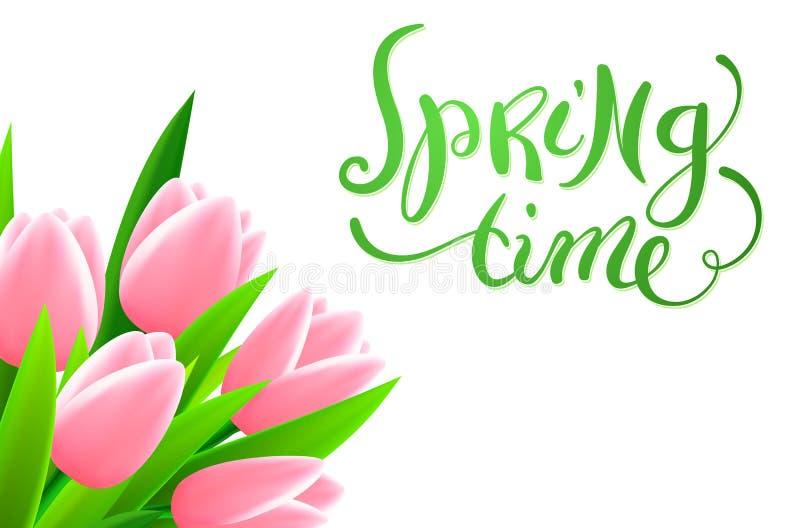 Frühlingszeit mit Blumen lizenzfreie abbildung