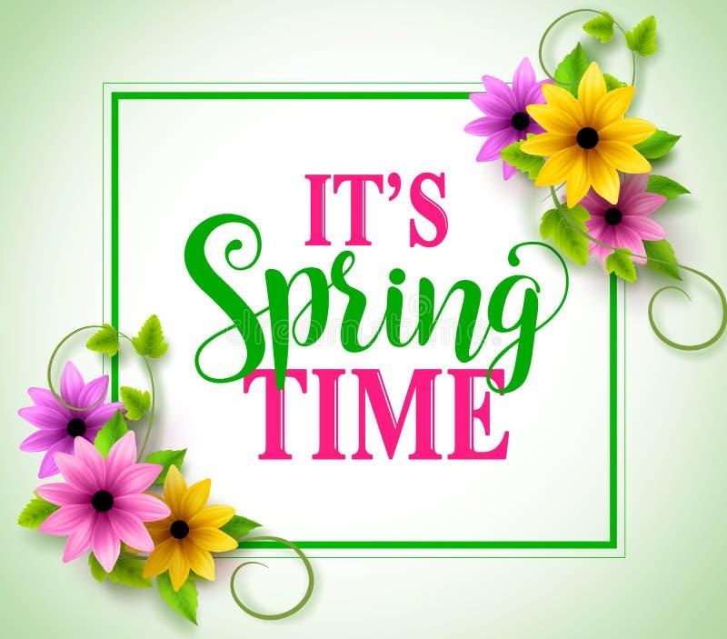 Frühlingszeit-Vektorfahne mit Internatsschüler in den bunten realistischen Blumen lizenzfreie abbildung