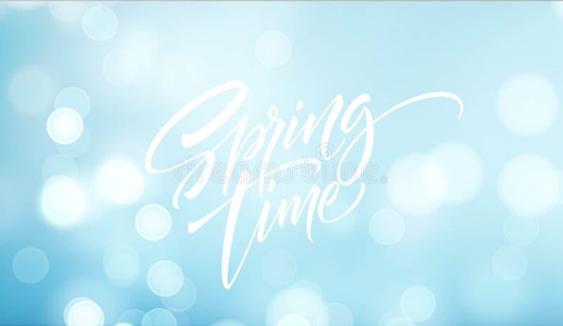 Frühlingszeitbeschriftung Schöner Frühlingshintergrund mit bokeh und handgeschriebenem Text Auch im corel abgehobenen Betrag lizenzfreie abbildung