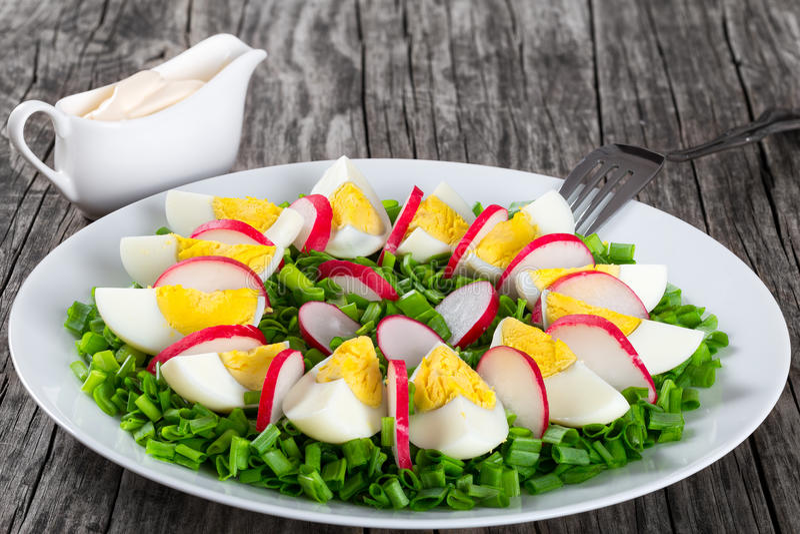 Frühlingszwiebel, Eier, Rettichsalat, Abschluss oben stockbild