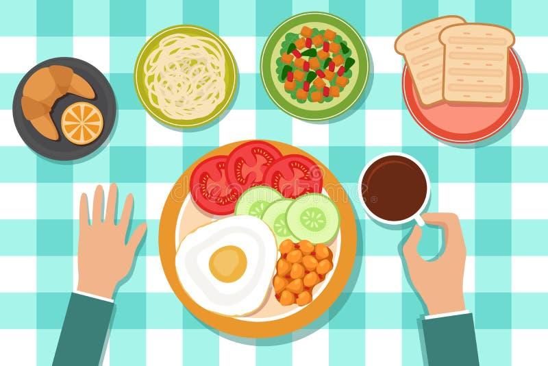 Frühstück, das Lebensmittel auf Platten und Mannhand auf Tabelle isst Draufsichtvektorillustration lizenzfreie abbildung