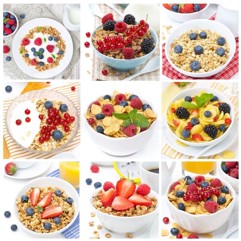 Frühstück mit muesli und Beeren, Collage lizenzfreies stockbild