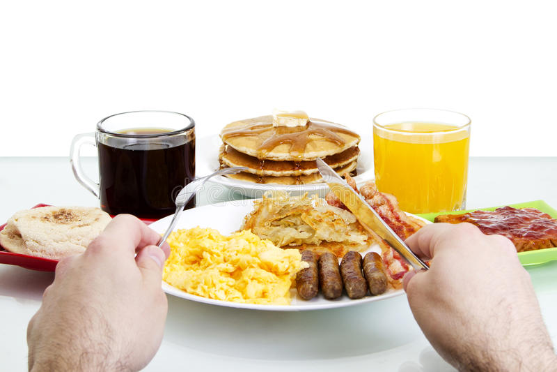 Frühstück POV stockbild