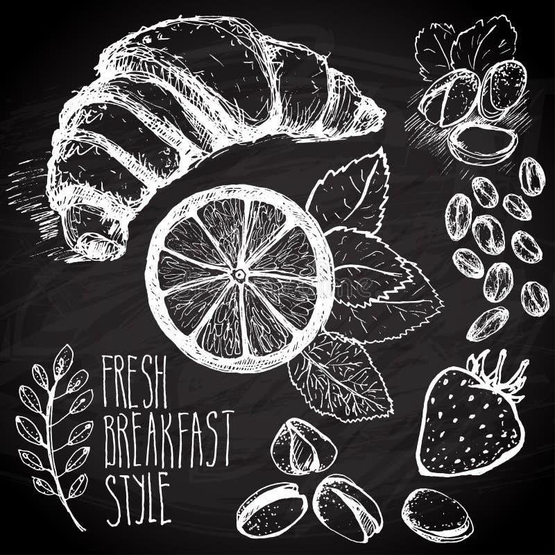 Frühstück skizzierter Satz stock abbildung