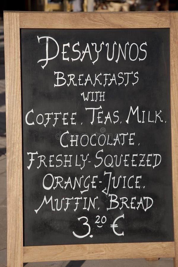 Frühstück-Zeichen lizenzfreies stockfoto