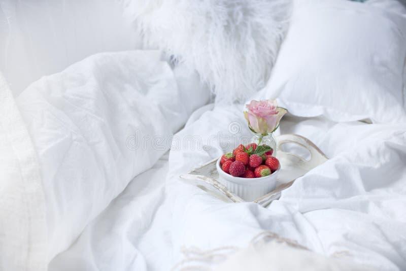 Frühstücken Sie an der Blumen, Romanze und guten dem Morgen des Betts und Kopieren Sie Platz lizenzfreie stockfotos