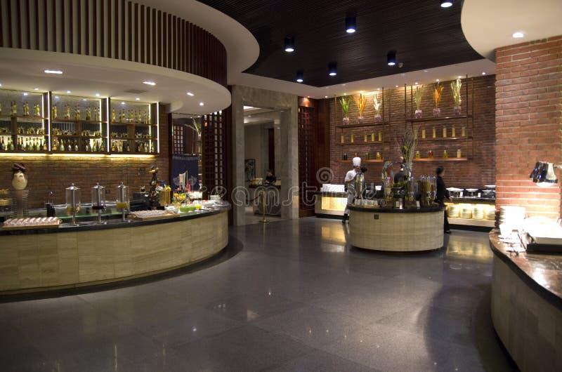 Frühstücks-Buffet Resturant, Hilton Hotel Mount Sanqing, Sanqingshan, Jiangxi lizenzfreie stockfotos