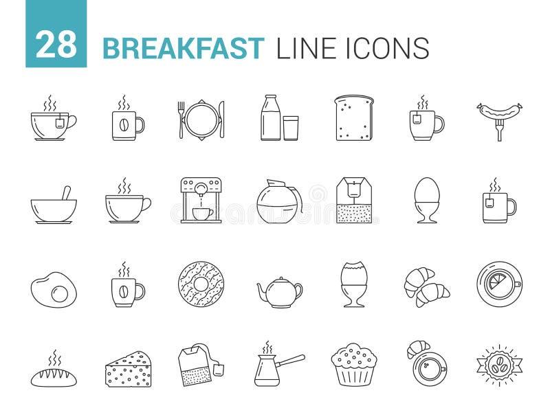 Frühstücks-Linie Ikonen lizenzfreie abbildung