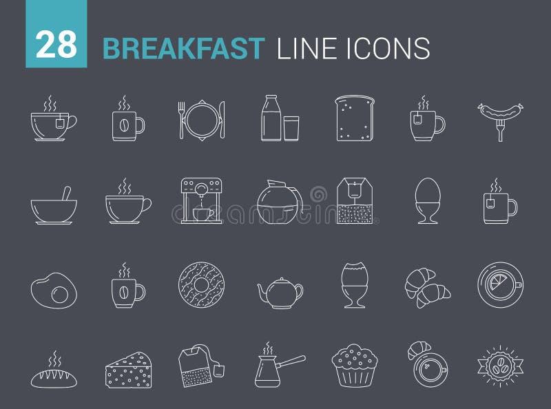 Frühstücks-Linie Ikonen vektor abbildung