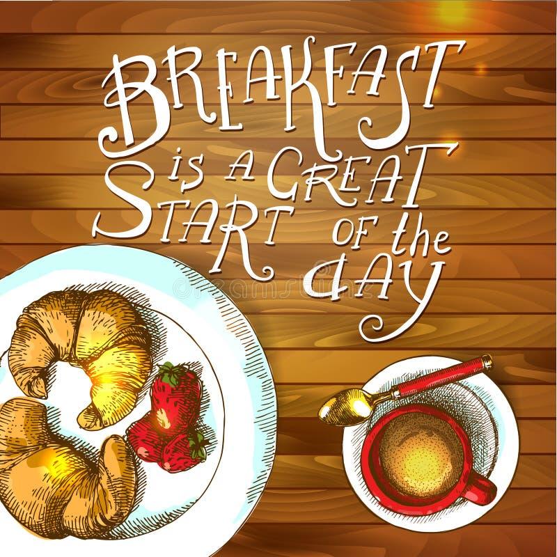 Frühstücks-Plakat Auch im corel abgehobenen Betrag stock abbildung