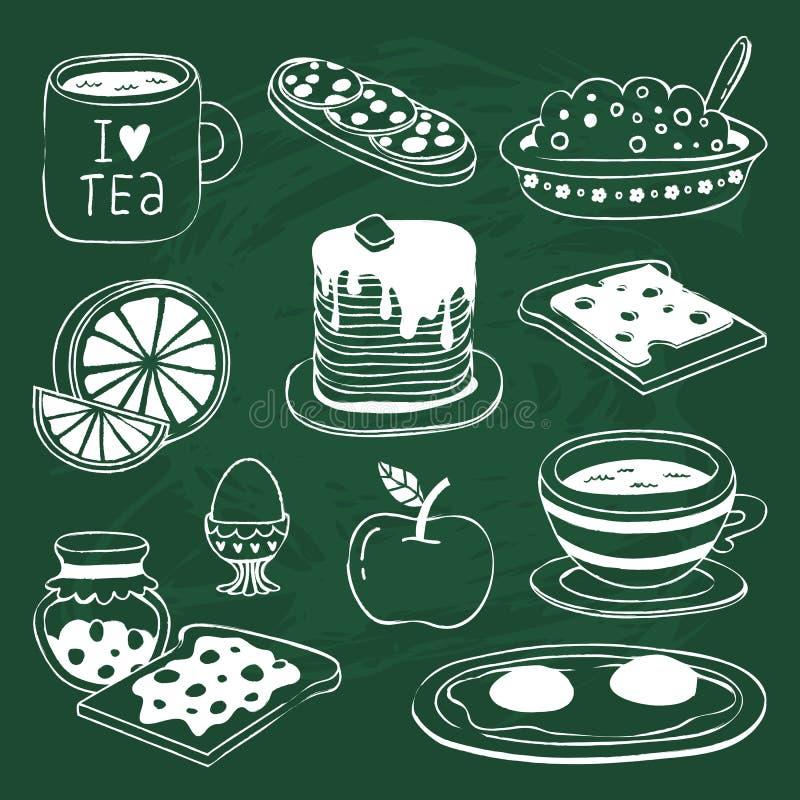 Frühstücksikone stellte mit den verschiedenen Produkten ein, die auf Tafel gezeichnet wurden lizenzfreie abbildung