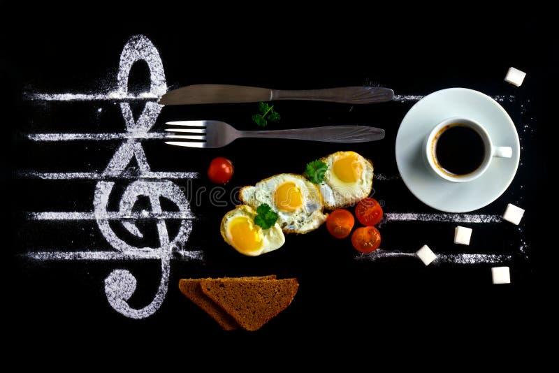Frühstückskonzept als Anmerkungen in der Musik stockfotos