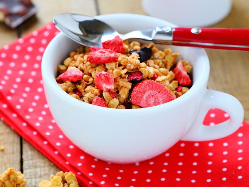 Frühstückskost aus Getreide mit Trockenfrüchten stockbild