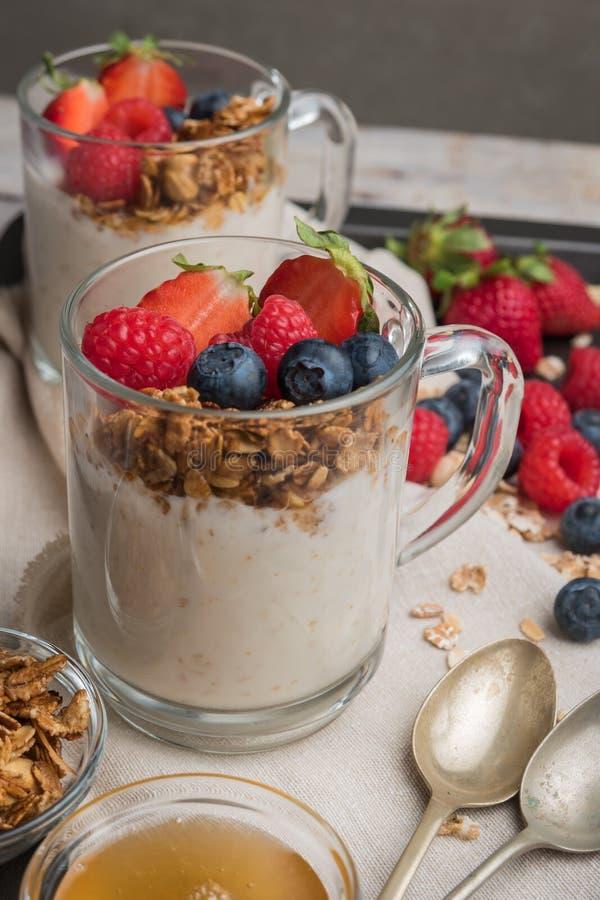 Frühstücksparfait mit selbst gemachtem Granola, frischen Früchten und Jogurt stockfotografie