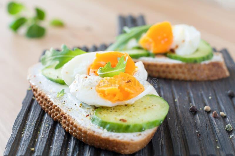 Frühstückssandwich mit Sahne Käse, Ei, Gurke und Arugula lizenzfreie stockfotos