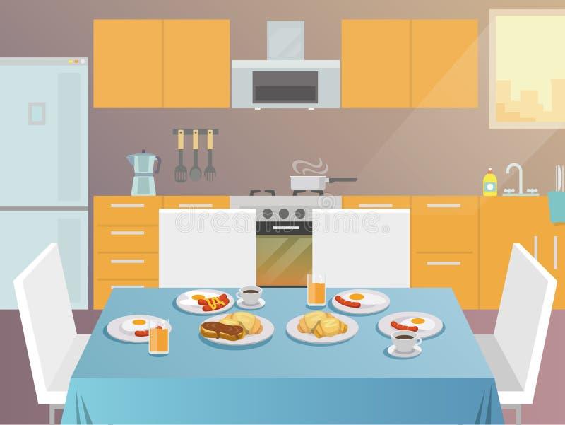Frühstückstisch flach stock abbildung