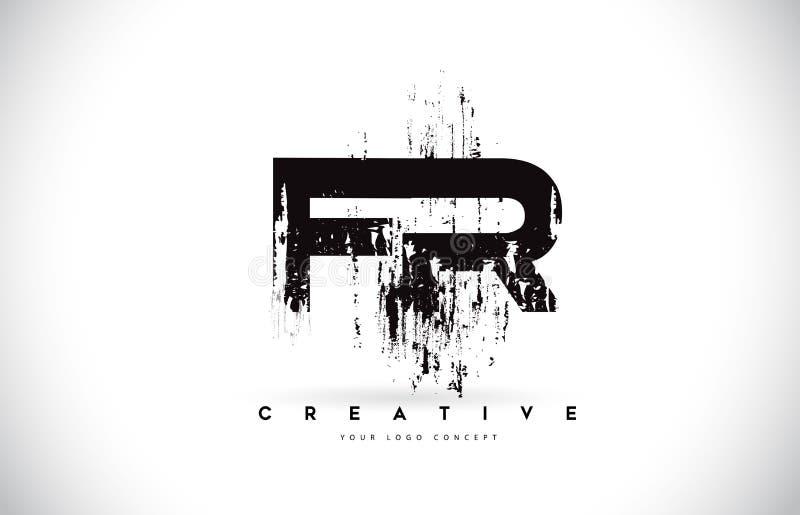 礹/&�il�f_fr f.r. grunge brush信件在黑颜色传染媒介il的商标设计
