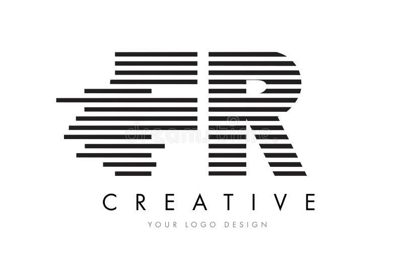 FR F R Zebra Letter Logo Design with Black and White Stripes royalty free illustration