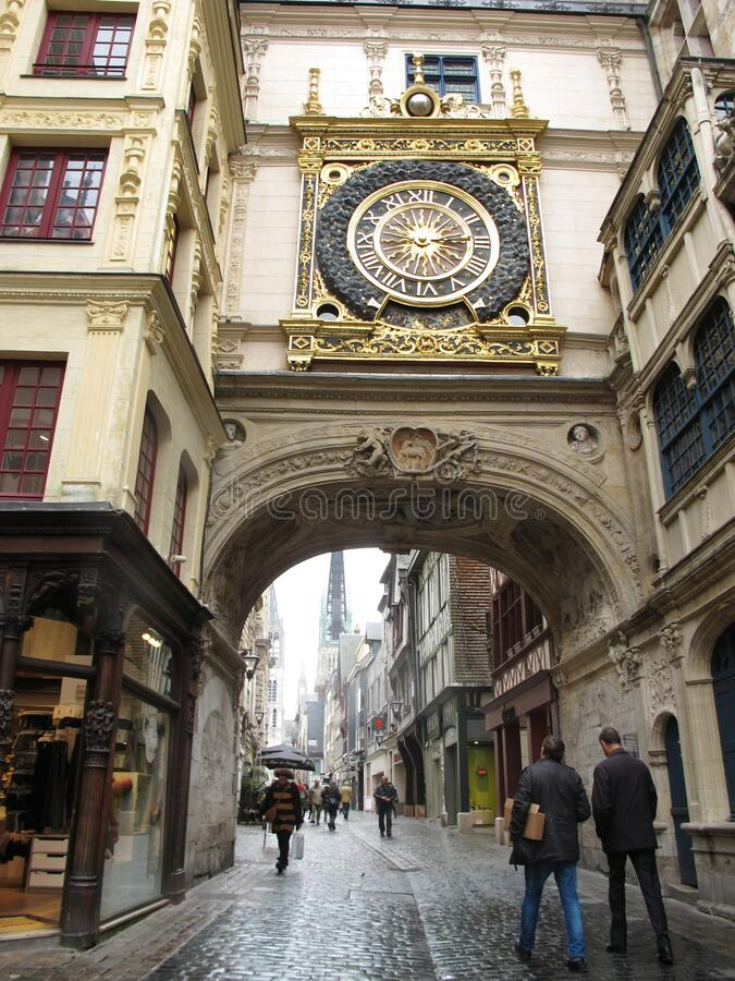 FR. France. Normandy. Rouen. Famous working astronomical clock with the oldest movement and one hand stock photos