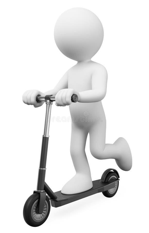 fr?gewhite f?r folk 3d Manridning på en elektrisk uthyrnings- sparkcykel stock illustrationer