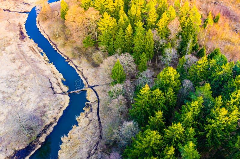 Fr?hlingsantennenlandschaft Trockenzeit im Wald nahe Flusskurve kaltes Jahreszeitkonzept stockfotos
