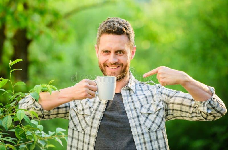 Fr?hst?cksaktualisierungszeit ?kologisches Leben f?r Mann Mann im grüner Waldglücklichen Mann mit Tasse Tee Getr?nktee im Freien stockfotos