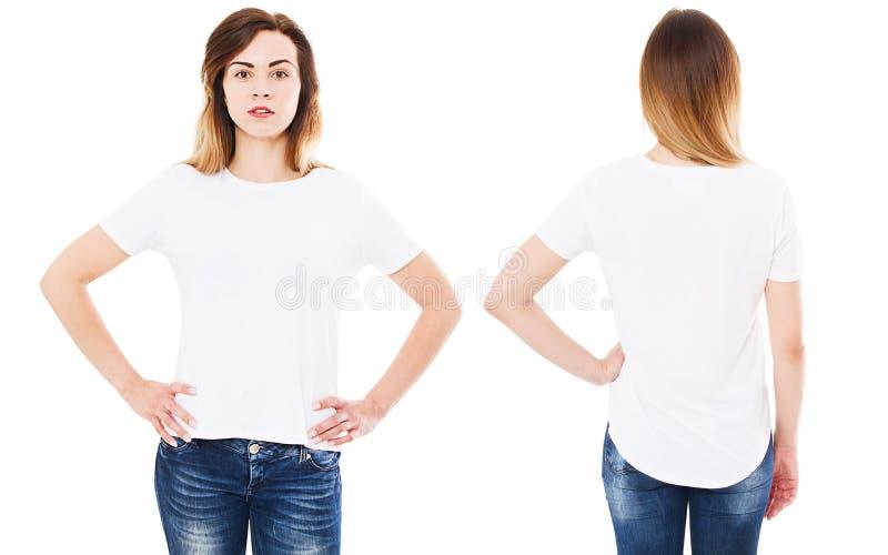 Fr?mre baksida besk?dar t-skjortan som isoleras p? den vita bakgrund, t-skjorta collage eller upps?ttningen, flickaskjorta arkivfoto