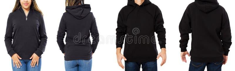 Fr?mre baksida och bakre svart tr?jasikt Härlig svart kvinnlig och manlig kropp i mallkläder för tryck- och kopieringsutrymme royaltyfri bild
