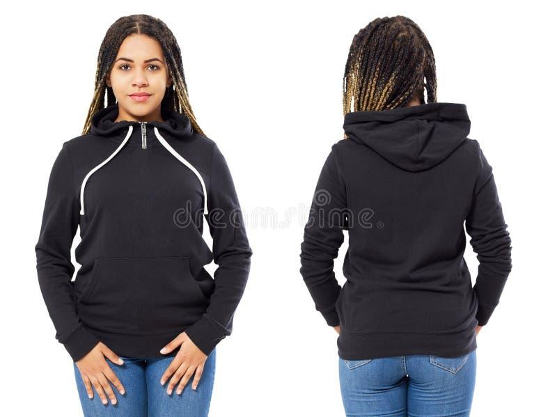 Fr?mre baksida och bakre svart tr?jasikt Svart kvinnashow på mallkläder för tryck- och kopieringsutrymme som isoleras på vit arkivfoto