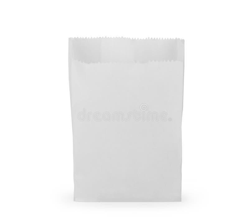Fr?mre sikt av den tomma packen f?r pappers- p?se f?r mellanm?l som isoleras p? vit med den snabba banan royaltyfri illustrationer