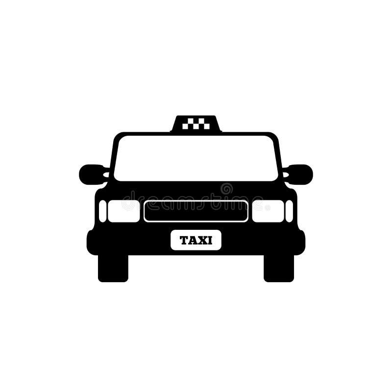 Fr?mre sikt f?r taxibil Isolerad symbol, logo, symbol ocks? vektor f?r coreldrawillustration vektor illustrationer