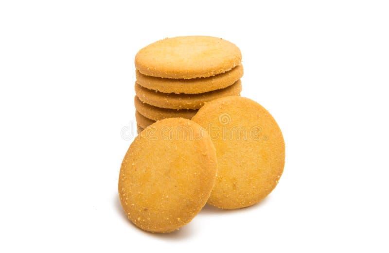 Fraîchement cuit au four autour des biscuits d'isolement photo stock